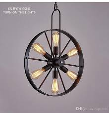 pendant lamp vintage loft chandelier industrial wind wheel creative cafe restaurant personality retro american country iron chandeliers blue pendant lights