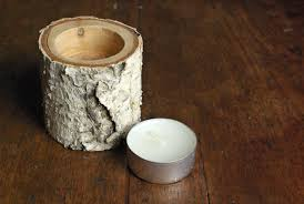 View in gallery Birch wood candle holder