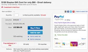 staples paypal gift card deal