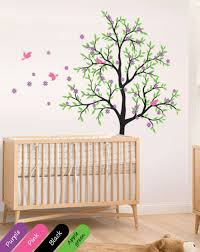tree wall decal cherry blossom tree wall mural large tree with birds nursery tree wall decal