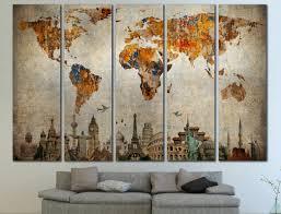 World Map Home Decor Grunge World Map Etsy