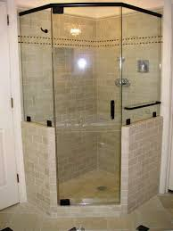 shower stall lighting. Bathroom, : Shower Stall Design Idea With Glass Door And Black Frame Combine Subway Lighting A