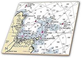 3drose 3d Rose Print Of Rockport Maine Nautical Chart