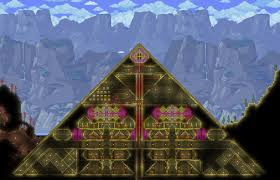 Pyramid Houses Moved In To Buried Pyramid For My Expert Mode Base Havent Tried