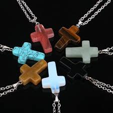 whole crystal quartz natural stone cross necklace white red crystal stone cross pendants for women fashion jewelry 161951 best friend necklaces