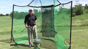 Backyard Driving Range Golf Mats Net and Auto Golf Ball Dispenser - YouTube