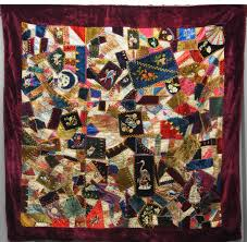 Pictorial Quilts & View Large Image · DIAMONDS ANIMAL EMBROIDERED ANTIQUE SILK CRAZY QUILT Adamdwight.com