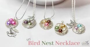 beautiful diy bird nest necklace in
