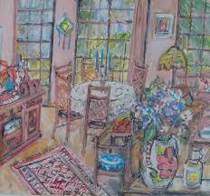 Sold Price: PURVIS, Marian (b. 1932) - 'Still Life, Family Room ...