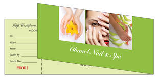 Customized Gift Certificates Gift Certificates Printing For Nail Salon