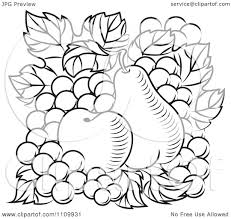 grapes clipart black and white. clipart black and white apple pear grapes - royalty free vector illustration by tradition sm f