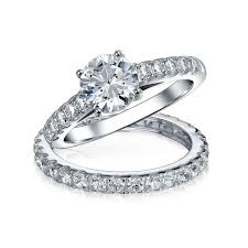 bridal cz solitaire engagement wedding ring set