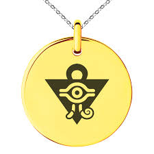 tioneer yu gi oh millennium puzzle stainless steel engraved small medallion circle charm pendant necklace com