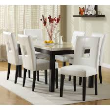 alluring rectangle espresso finish solid wood dining table with eased edge profile cream granite top equipped
