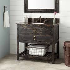 great reclaimed wood bathroom vanity with storage and distressed black finish