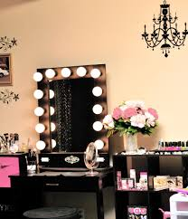 furniture rectangle black wooden makeup table with single drawer and rectangle black mirrors also lights