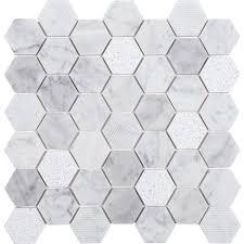 Marble wall tiles Grey Anatolia Tile Carrara 12in 12in Honeycomb Marble Mosaic Wall Tile Walls And Floors Anatolia Tile Carrara 12in 12in Honeycomb Marble Mosaic Wall