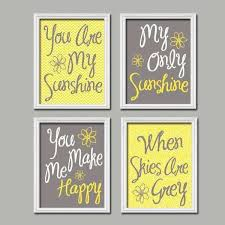gray and yellow wall art inspirational yellow gray nursery you are my sunshine wall art canvas