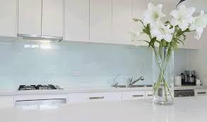 kitchen aqua colour glass splashback