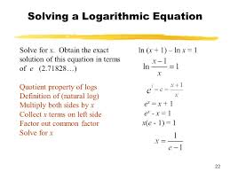 solving a logarithmic equation