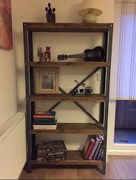 unique solid custom made industrial style bookcase shelf unit