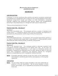 Secretary Job Description Resume Secretary Resume Examples 100 Sample Objective Position Resumes For 7