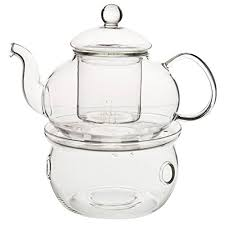 king do way heat resistant elegant glass tea pot set infuser teapot warmer 6