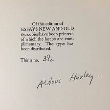 aldous huxley signed  aldous huxley signed essays new and old at the florence press 1927