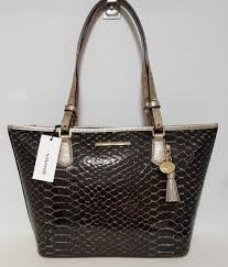 BRAHMIN MEDIUM ASHER TOTE BROWN MATSUE PYTHON EMBOSSED LEATHER NWT
