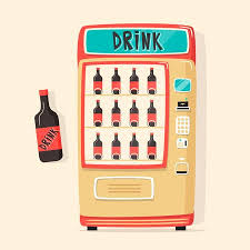 Vending Machine Free Drink Magnificent Vintage Vending Machine With Drinks Retro Cartoon Style Vector