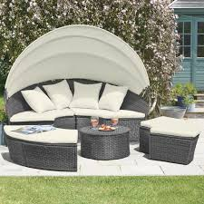 rattan daybed garden furniture outdoor patio lounger sofa table canopy set new