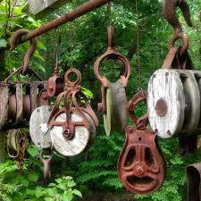 oh and look a ceramic totem pole in their terraced backyard garden wonder how that got there