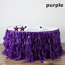purple color round taffeta table skirt wedding table skirting table skirt table cloth skirt wedding table skirting with 280 0 piece on