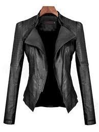 black fashion stand collar plus size faux pu leather biker jacket for women