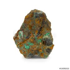 Piece Of Copper Pitch And Azure Ore Isolated On White