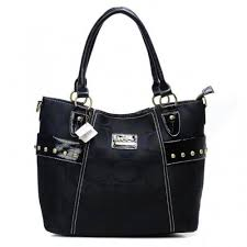 Coach Stud In Signature Medium Black Totes BXW