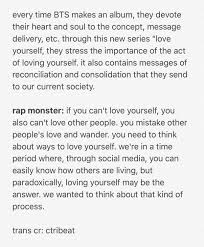 Lisa On Twitter Rap Monster Talks About Loving Yourself
