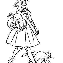 Small Picture Black cat and witch coloring pages Hellokidscom