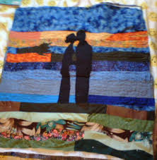 photos of appliqued quilts, how to make an appliqued quilt, free ... & Sue made this quilt by looking at a photo of a couple at their wedding. Sue  says,