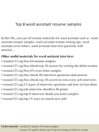 Activities Aide Sample Resume Fascinating Top 44 Ward Assistant Resume Samples