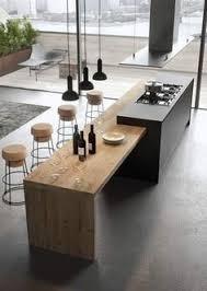 Cuisine Moderne Gris Anthracite Avec Espace Repas En Bois Home