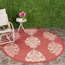 safavieh courtyard red natural 7 ft x 7 ft indoor outdoor round