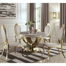 Shop Luxurious Modern Design 5 Piece Gold Dining Set With Marble