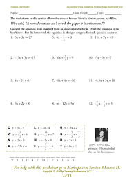finding slope and intercepts from a linear equation graph a worksheet slope worksheet pdf