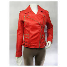 details about las red napa leather stud zip slim tight fitted short biker jacket bike