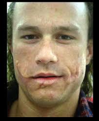 heath ledger test photo with joker prosthetics but no makeup