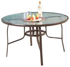 48 round glass top outdoor patio dining table with umbrella hole