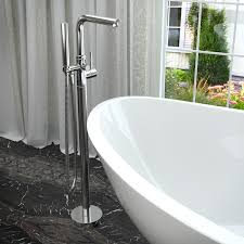 anzzi ft004 0026 salva 5 7 ft acrylic freestanding non whirlpool bathtub in white and sens series faucet in chrome