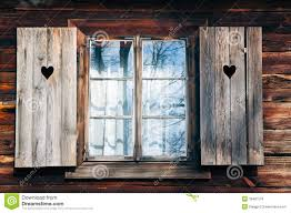 Old Window Old Window Shutters In Wooden Wall Royalty Free Stock Images