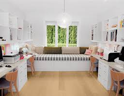 Home office white Table White Grey And Brown Themed Home Office With Shelving Cabinets Desks And Bay Window Seating California Closets Home Office Storage Furniture Solutions Ideas By California Closets